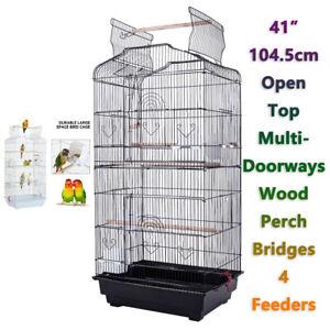 """Multi-Doorways Open Top Large Metal Bird Cage Budgie Parrot Canary 41"""" Birdcage"""