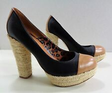 Next Casual Hessian Cord Style Heeled Court Shoes Black/Brown 6UK 39EU