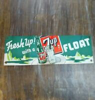 "Vintage 7up Seven 7 Up ""Fresh Up! With A FLOAT"" Paper Advertising Sign 16"" USA"