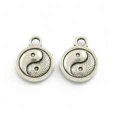 Packet 30 x Antique Silver Tibetan 13mm Yin Yang Charm/Pendant ZX16125