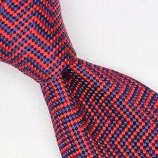 Atmosphere Mens Silk Necktie Red Navy Blue Zig Zag Stripe Thick Weave Italy Tie