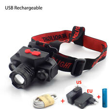 T6 XPE COB LED headlamp USB rechargeable 18650 Head Light Camping Torch Lamp