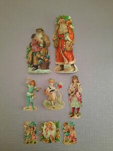 CHROMOS DECOUPIS ANCIENS - PERE NOEL,ENFANTS, ANGES (grand père noel 16 cm)