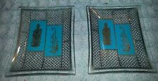 """Pair of Cute Oriental Little 3"""" Glass Pin or Trinket Glass Dishes Incense Trays"""