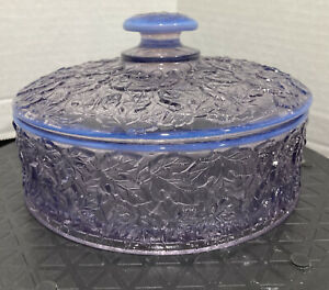 Westmoreland Glass Lilac Opalescent Bramble Maple Leaf Covered Candy Box Round