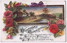 Birthday Greetings -  Vintage Postcard - Floral Design 'no stamp'