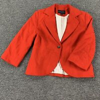 Banana Republic Blazer Jacket Womens 2 Red Lined Long Sleeve 1 Button Front
