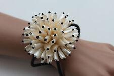 Women Bracelet Big Cream Flower Charm Elastic Metal Cuff Band Fashion Jewelry