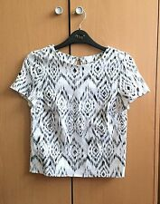 Miss Selfridge - NEW Black/White Jacquard  Aztec Print Crew Neck Top Petite UK 4