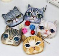 Top Cute Lovely Cat Face Zipper Case Coin Purse Wallet Makeup Buggy Bag Pouch