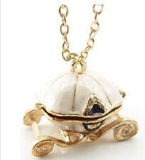 2 x Vintage Disney Queen's Pumpkin Carriage CINDERELLA Locket Pendant Necklaces
