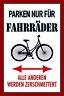 Aparcamiento Sólo para Bicicletas Letrero de Metal Arqueado Lata Sign 20 X 30CM
