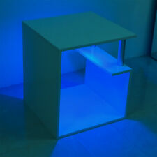 Modern White High Gloss Coffee Table with Blue LED Living Room Office Home Unit