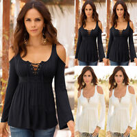 Womens Lace up Long Sleeve Off Cold Shoulder T Shirt Casual Flared Tops Blouse