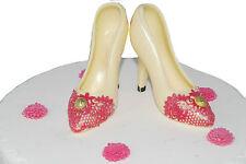 White Handmade Chocolate Shoes Birthday Set  Cake Topper Decoration