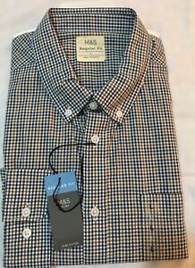 M&S COLLECTION MENS REG FIT PURE COTTON GINGHAM CHECKED SHIRT IN GREEN MIX Sz L