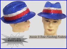 AUSSIE Sequin FEDORA HAT & LED LIGHTS Australia Commonwealth Olympic Dance Party