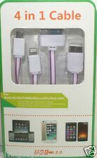 1 Meter 4 in 1 USB Flat Charge Cable Apple 8 Pin/30-Pin/Micro USB/Note 3(Violet)
