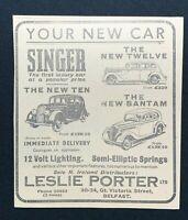 1938 Newspaper Clipping SINGER CARS, NEW TWELVE, TEN & BANTAM, LESLIE PORTER LTD