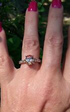 Golden Champagne Morganite solitaire w/accents ring, sterling silver, size 9