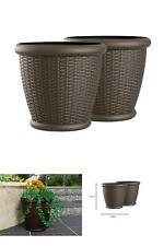 Willow 22 In. Round Java Blow Molded Resin Planter 2 Pack