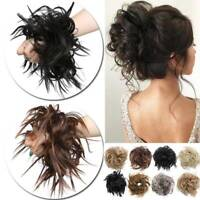 Natural Messy Rose Bun Curly Scrunchie Hair Extensions Updo As Human Hairpiece