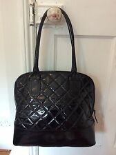 lk bennett black quilted patent leather bag handbag