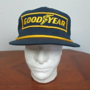 Vintage Goodyear Racing  Hat USA Navy Gold Rope Snapback Trucker NWOT