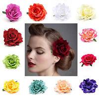 Beautiful Big Blooming Rose Flower Wedding Bridal Hair Clip headpiece Brooch Pin