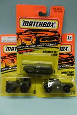 Matchbox - Lot de 3 véhicules militaire : Jeep - Automitrailleuse - Tank - 1/64