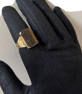 Antique Victorian Vintage 14k Yellow Gold Tigers Eye Intaglio Size 12 Ring 6.3 G