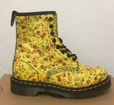 DR. MARTENS 1460  SUN YELLOW LITTLE FLOWERS  LEATHER  BOOTS SIZE UK 3