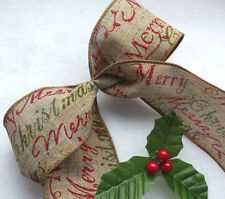 1m  60mm WIRED CHRISTMAS RIBBON  NATURAL BEIGE GREEN & RED SCRIPT TREE BOW GIFT