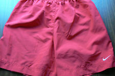 NIKE 'DRI-FIT' RED SHORTS-GIRLS LARGE (14-16)-POLY-SIDE SLITS-AS UNWORN