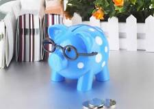 Polka Dots Hard Plastic Pig With Glasses Piggy Bank With Stopper Blue