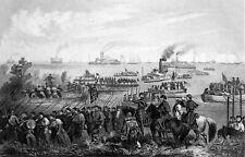 CIVIL WAR - LANDING of TROOPS on ROANOKE ISLAND in 1862 - Engraving from 19th c.