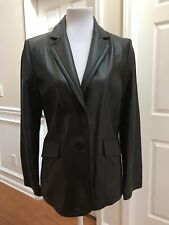 JLC New York Women Leather Jacket Chocolate Brown Size M