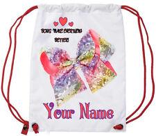Personalised Glitter JoJo Bow Girls Sport Gym School PE Swim Ballet Dance Bag