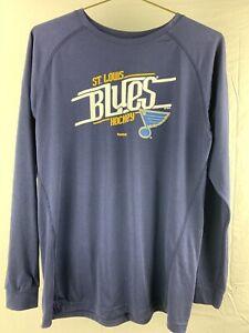 St Louis Blues Hockey Reebok NHL Long Sleeve Women's T-Shirt Size XL (18-20)