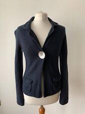 Boden Knit Soft Jacket Navy Blue one button Size 10 7% Cashmere 5% Angora