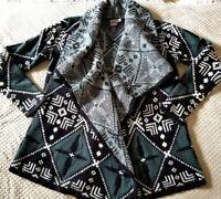 ASOS Cardigan Sweater Tribal Southwest Shawl Collar Green & Black Size 8 Medium