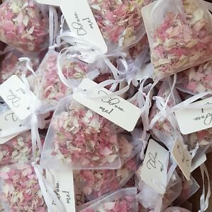 Natural Petal Wedding Confetti- Organza Bags with Kraft TAGS - pink, blue, ivory