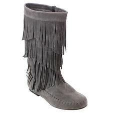 Women's Fringe Moccasin Flat Heel Zipper Under Knee High Boots GREY Size 7