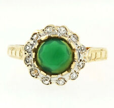 9Carat Yellow Gold Emerald & Diamond Four Leaf Clover Ring (Size K 1/2) 11x11mm