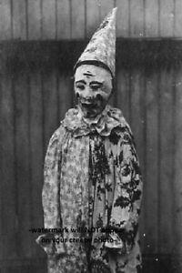 Scary Vintage Creepy Clown PHOTO Circus Freak Strange Odd Halloween Costume