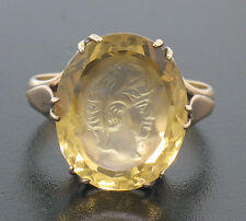 14k Solid Rose Gold Rare Hand Carved Yellow Citrine Portrait Intaglio Ring