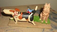 Blossom Bucket Dog On Bird's Leash Basset Hound or Beagle 85707 Retired w Cat