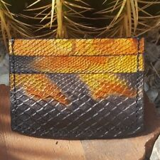 Handcrafted Leather I.D. & Credit Card Wallet Snake Skin Pattern