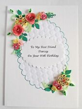 Personalised Handmade Luxury Birthday/Anniversary Card Quilled Flowers Boxed