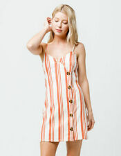 Sky and Sparrow Orange & Cream Striped Button Front Dress Size Large (F84)